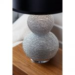 Artificial sea urchin base lamp in silver with black lampshade
