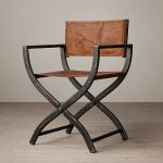 Black metal framed leather director chair