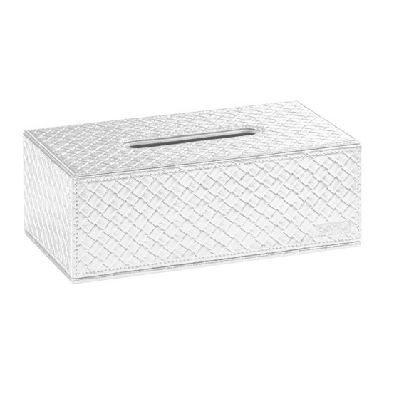 Glossy White Fabric Tissue Box Cover In Rectangular Shape