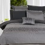 Gray bedding idea with black floral motif