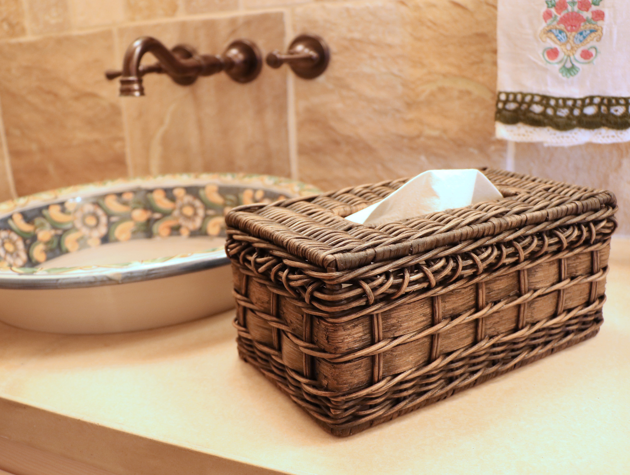 Handcrafted Rattan Tissue Box Cover In Rectangle