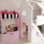 Home like loft bed idea for girls with built in ladder