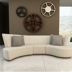 Minimalist white sectional sofa for small room gray throw pillows