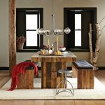 Modern rustic dining benches with black tufted upholstery