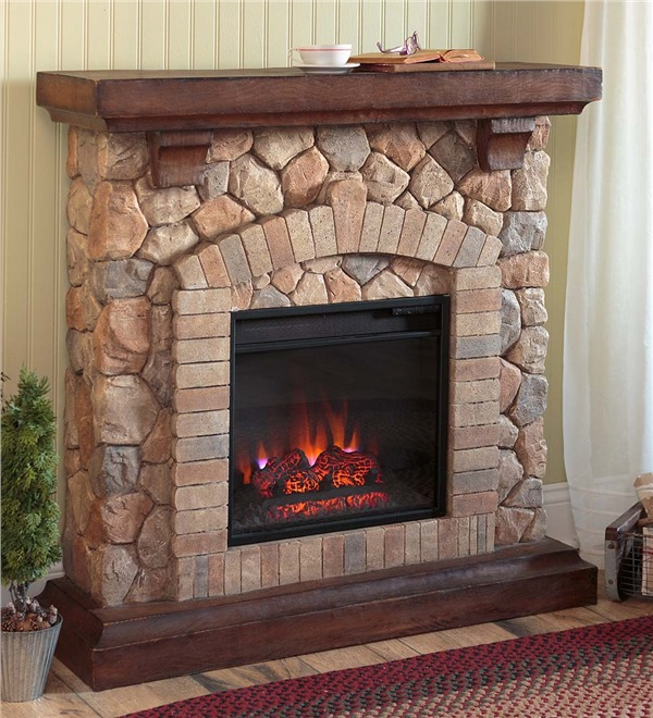 Electrical Home Design Ideas: Stone Electric Fireplace For Modern Rustic Home Designs