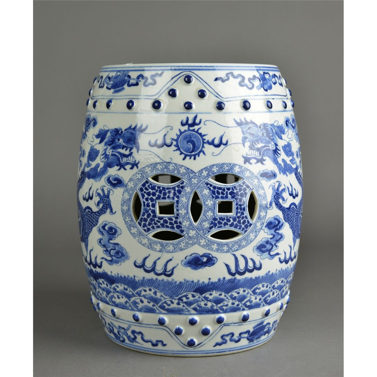 Beau Oriental Ceramic Garden Stool Idea In Blue And White Colors