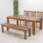 Rustic bench for kitchen and dining room three units of dining chairs and a unit of dining table