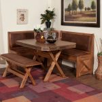 Rustic kitchen and dining benches idea at the corner x base dining table in rustic style