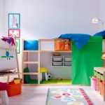 Simple minimalist wood loft bed IKEA for kids equipped with built in ladder