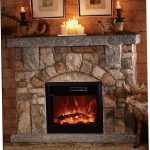 large stone electric fireplace