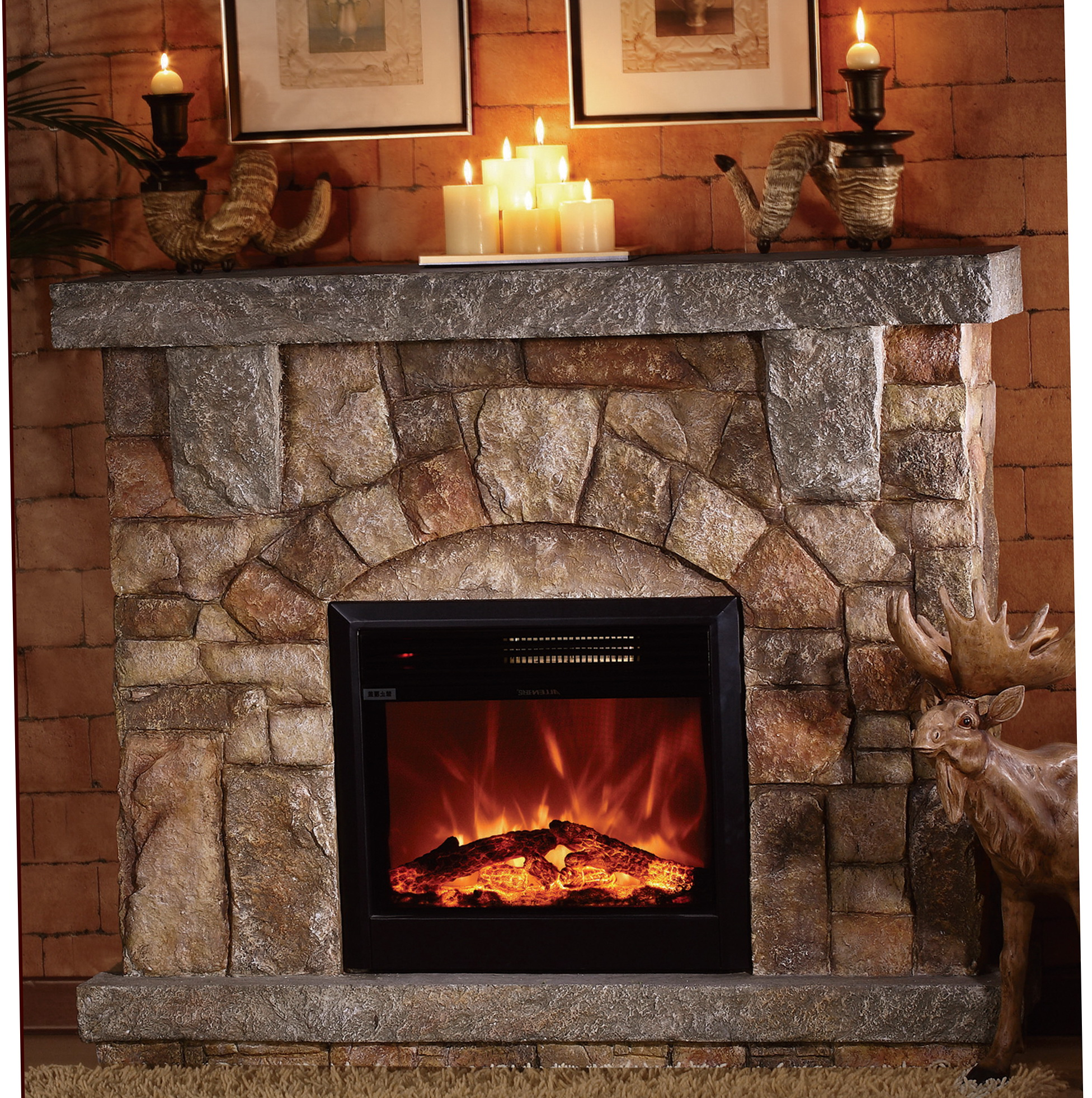 Stone electric fireplace for modern rustic home designs homesfeed - Images of stone fireplaces ...
