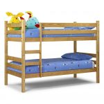 Unfinished wood loft bed IKEA for kids with built in ladder