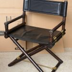 X base black leather director chair with dark finished bamboo