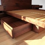 Lavish Bedroom Platform Model Made Of Oak Wood With Storage Model Designed In Drawer Style Also Floating Stand For Stuffs On Each Side Of Headboard