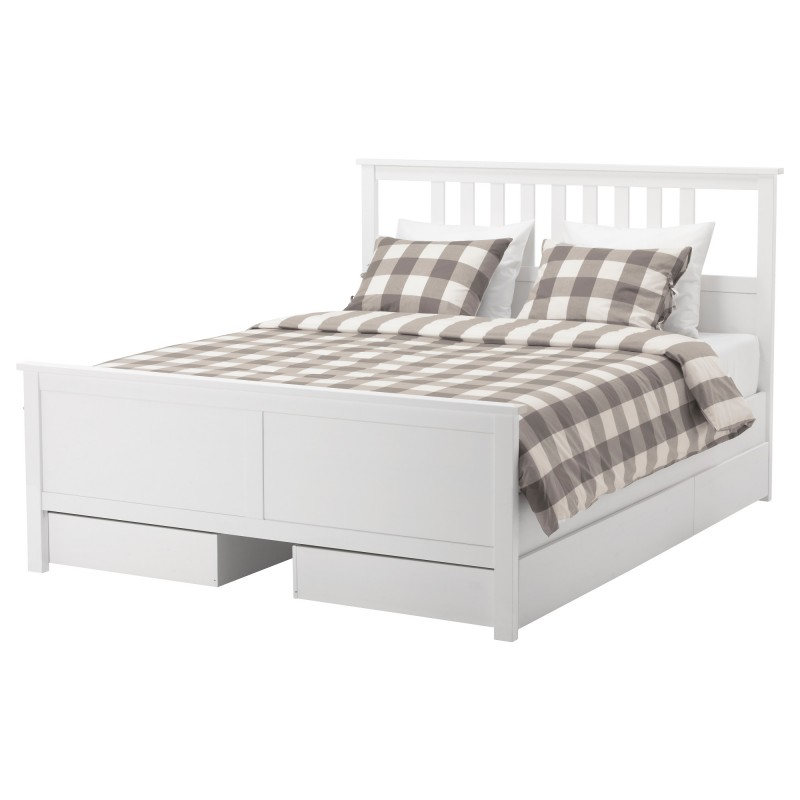 Modest Bedroom with Checkered Style for Bed Cover also White Concept for Bed Platform with Large Storage on Each Panel for Contemporary Interior