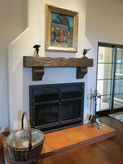Inspiring Fireplace with Perfect Combination of Black and White Color for Interior Wall with Black Panel Mantel and Wooden Panel on Firepit