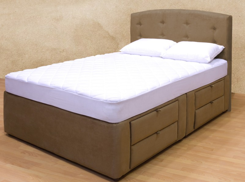 Adorable Bedroom with Duplex Storage on Bed Platform made from Resin Wood with White Mattress also Perforated Headboard on Contemporary Room