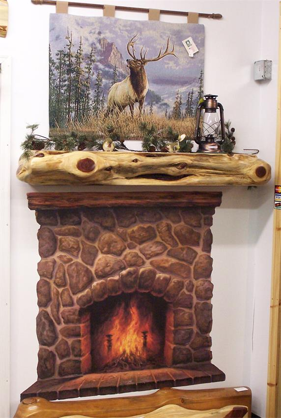 Deluxe Fireplace Concept with Rustic Model of Fire Mantel and Ornamental Panel on Fire Pit with Animal Pictures on White Interior Design of House