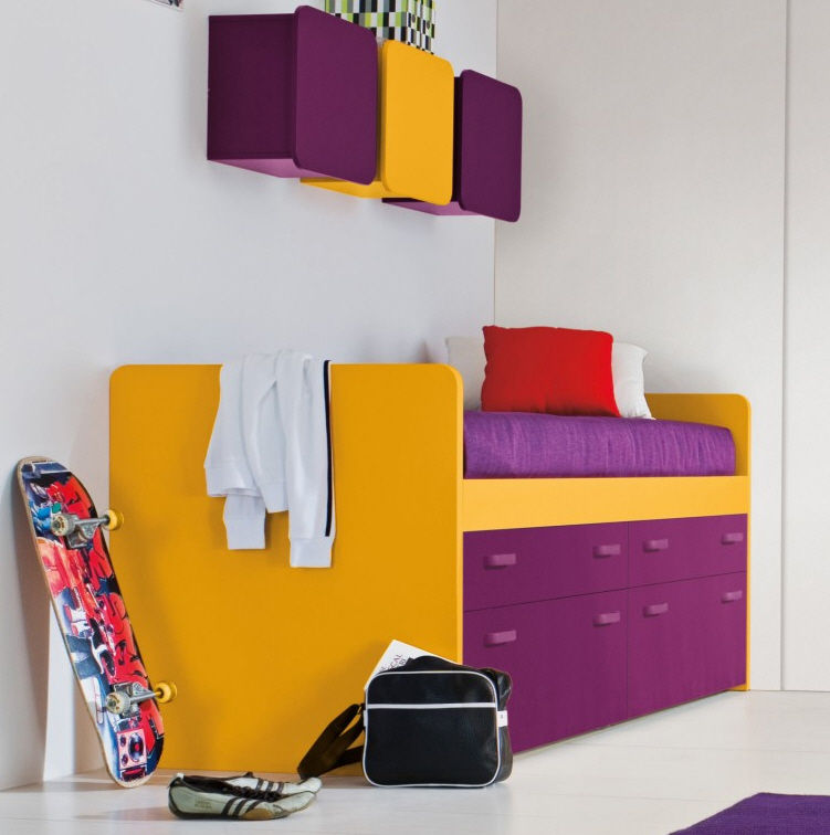 Inspiring Bedroom with Colorful Concept of Bed Platform with Drawer Storage in Purple also Floating Cabinetry for Shelves with Stuffs for Boys Room
