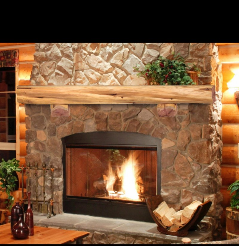 Fascinating Fireplace with Glass Panel on Firepit also Rustic Model of Fire Mantel using Wooden Panel with Tropical Accent for Main Decoration