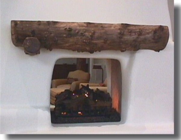 Adorable Fireplace with Transparent Glass Panel for Mantel and Glossy Cover on Firepit also Rustic Logwood without Ornaments for Completion