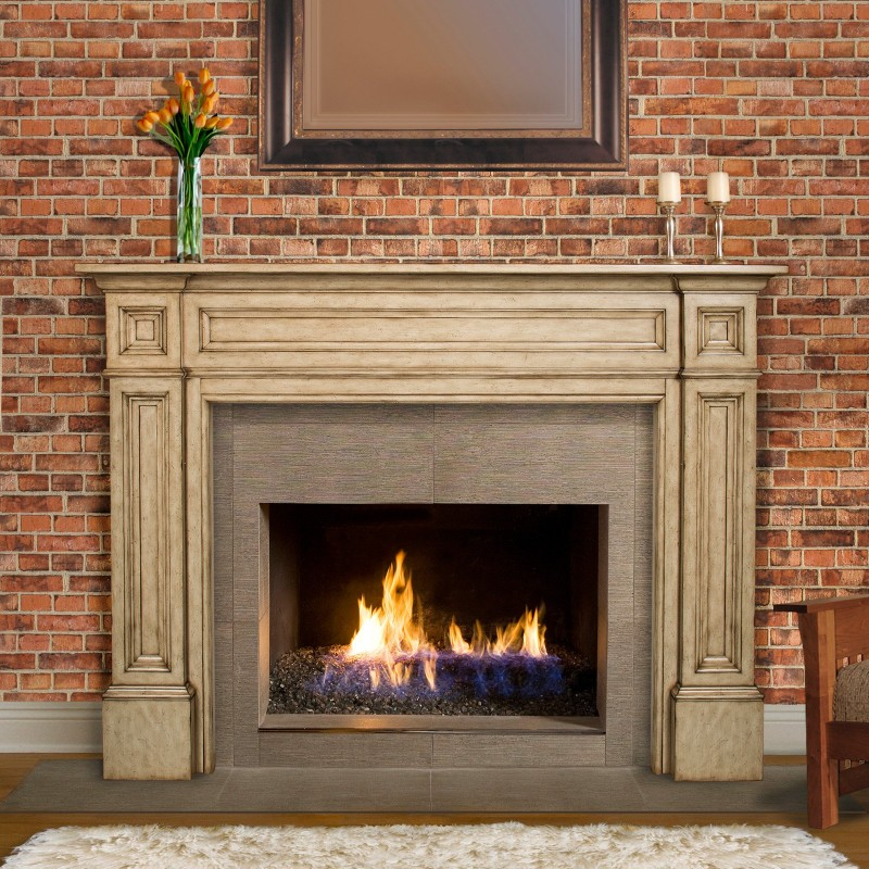 Enchanting Fireplace with Classic Model of Fire Mantel to Complete Wall with Brick Installation and Tropical Flowers on Transparent Vase