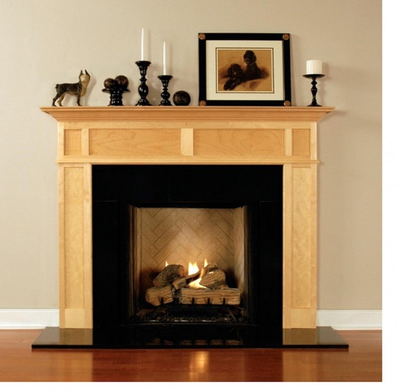 Modest Fireplace with Metal Panel for Fireplace Mantel and Concrete Panel on Firepit with Ornamental Decoration on Shelf with Self Portrait