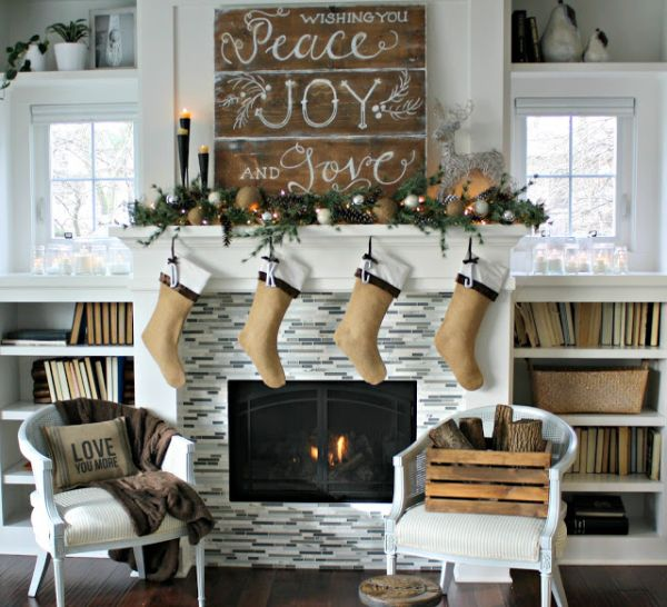 Adorable Fireplace with Christmas Decoration also DIY Ornament on Fireplace Panel with Letter Decoration on Firepit without Any Decoration on House