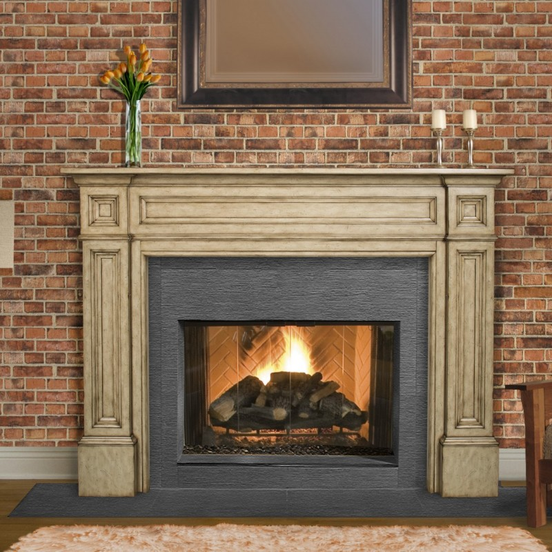 Amusing Fireplace Model with Classic Style of Pillar and Wooden Firepit also Tropical Flower on Glass Panel with Granite Stone for Mantel of Classic Fireplace