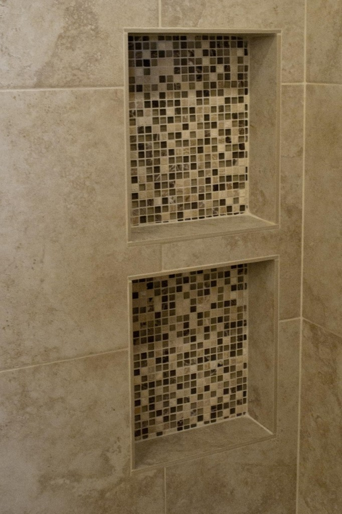 Hilarious Shower Shelves with Mosaic Style Made of Granite Tiles Covered with Marble Back Splash on Bathroom with Low Light System on Flat