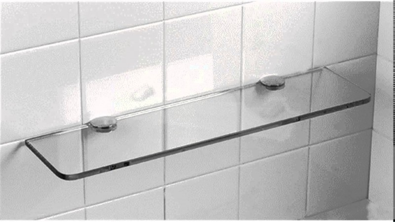 Magnificent Glass Panel with Stainless Steel Support on Ceramic Tiles with Floating Model using Mounting System for Minimalist Bathroom of Loft
