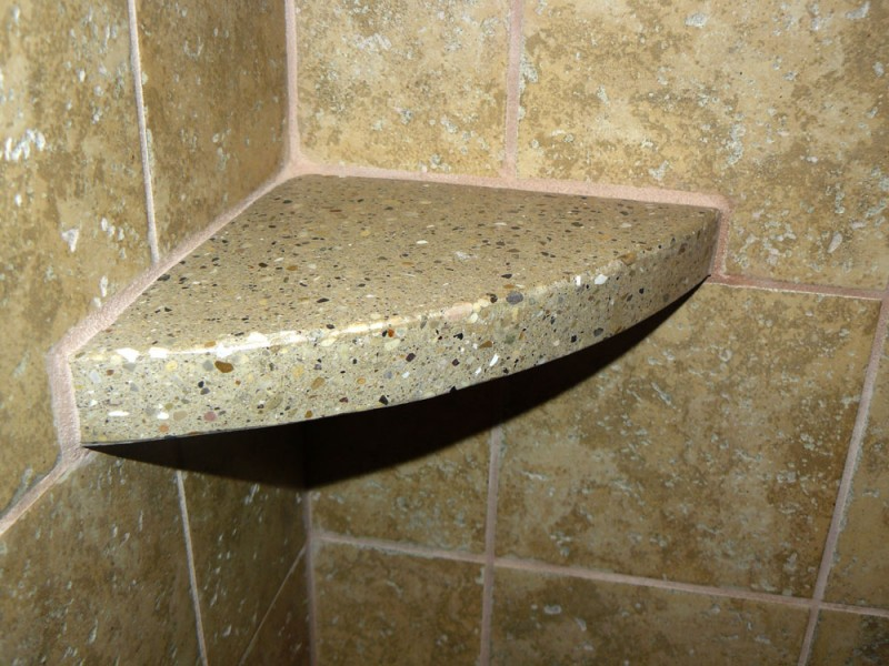 Rustic Edge Shelf with Polkadot Style of Granite Tiles for Marble Tiles with Glossy Appearance of Back Splash of Contemporary Bathroom