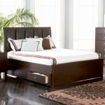 Classy Bedroom With Brown Color For Bed Platform Also Duplex Storage With White Mattress Also Puff Model Of Headboard On Modern Flat On Urban Area