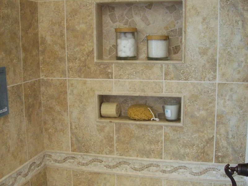 Perfect Bathroom Shelves with Mounting Concept Made of Ceramic Tiles with Marble Accent for Soap and Stuffs on Contemporary Ideas