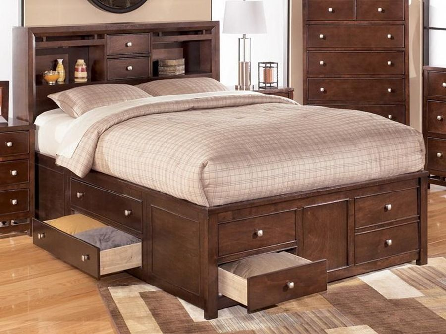 Anxious Bedroom with Duplex Storage Model made of Wooden Material also Minimalist Style for Matress with Perforated Style of Headboard