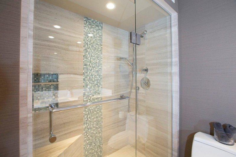 Marvelous Shower Panel with Glass Enhancement using Interior Lights of Wooden Panel Covering Granite Tiles of Minimalist Bathroom