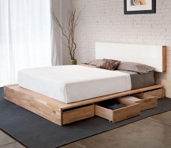 Magnificent Bedroom with Single Storage on Wooden Bed Platform also White Cover on Room with Layered Headboard of Room with Brick Installment
