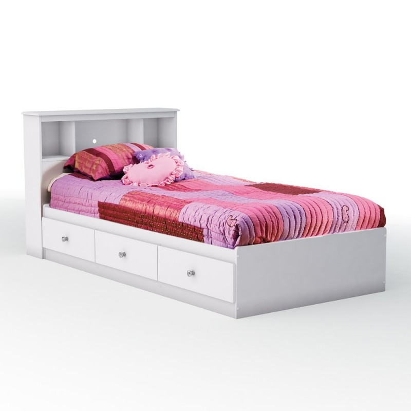 029 Astonishing Bed Platform Model with Drawer Storage painted in White with Colorful Bed Cover also Perforated Headboard and Striped Pillows for Small Room