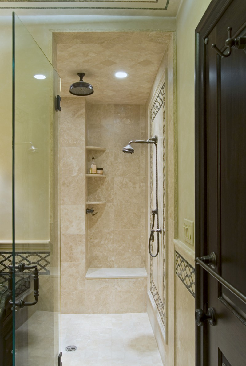 Excellent Bathroom Concept with Glass Room Divider on Shower also Ceramic Tiles as Back Splash using Black Mahogany for Main Furniture with Accent