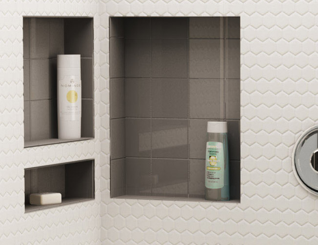 Fascinating Bathroom Shelves with Contemporary Style using Ceramic Tiles for Decoration with Level Design to Enhance Glossy Outlook of Splash