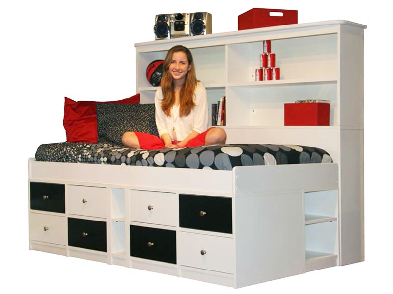 042 Inspiring Bedroom Design with Duplex Storage Model with Checkered Style on Drawer also Headboard as Shelves on Girls Room for Loft