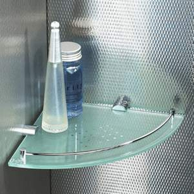 Adorable Edge Shelves Made of Glass Material with Stainless Cover using Glue Enhancer for Edge Area of Soap and Stuffs on Contemporary Bathroom Design