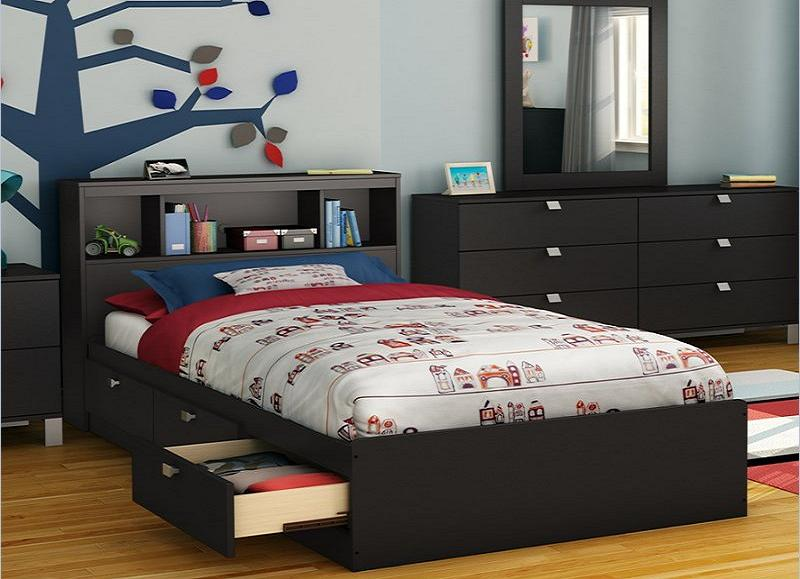 Wonderful Bedroom with Black Theme of Bed Platform with Floral Pattern of Bed also Tall Stand on Room with Wall Decal on Minimalist Interior