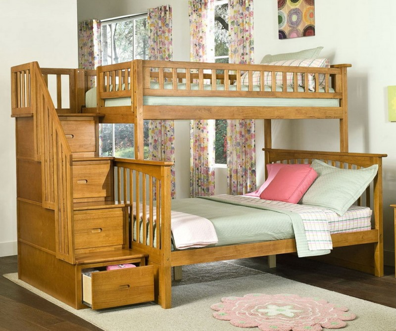 Marvelous Bedroom with Bunk Bed Style for Bed Platform also Wooden ladder for Storage using Floral Decoration as Main Concept for Room