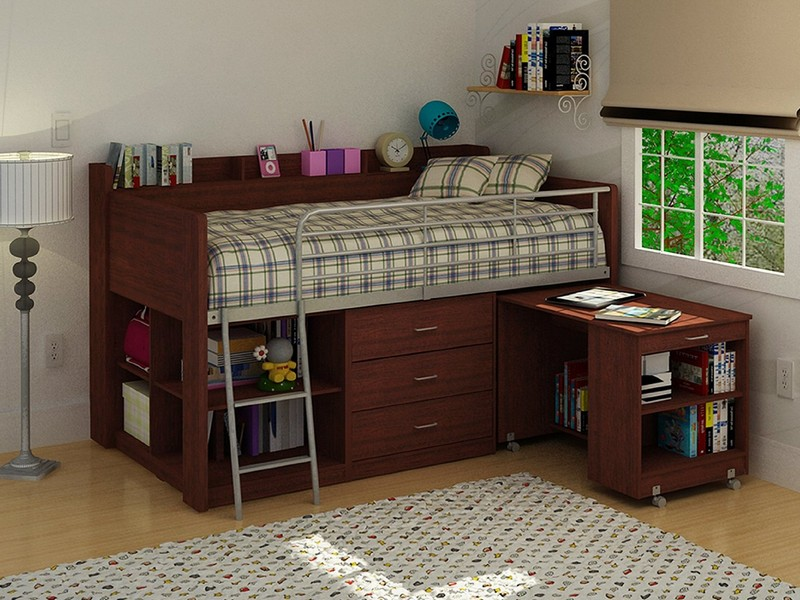 Amusing Bedroom with Bunk Bed Model for Storage also Small Ladder with Pattern Cover also Wooden Shelves with Desk Lamp on White Interior Design