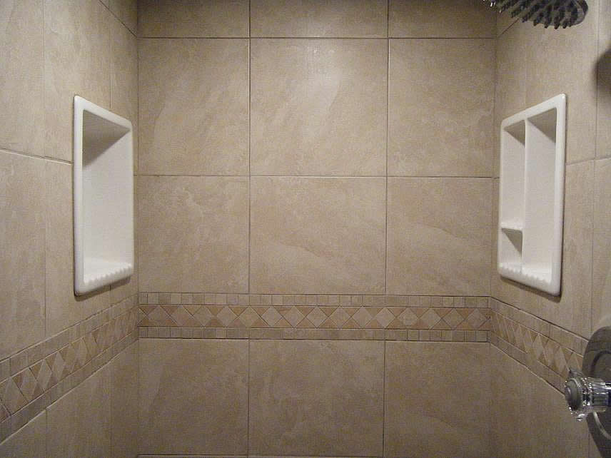 Modest Floating Shelf with Separated Panel Made of Porcelain Material Installed on Marble Tiles as Main Material for Back Splash of Bathroom