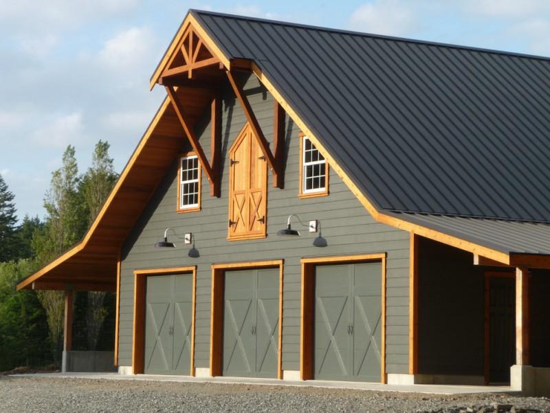 Clopay garage door with custom paint in a farmhouse