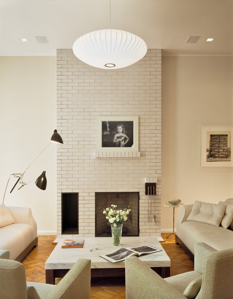 bottom to top white brick fireplace idea huge decorative pendant lampa set of living room furniture in pastel scheme