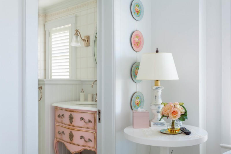 chic pink vanity in shabby look with white marble top