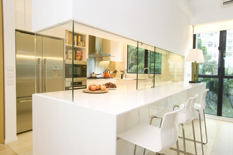 classic contemporary small open kitchen idea fully white breakfast bar and stools purely white kitchen cabinets stainless steel appliances sliding glass panel fully glass windows